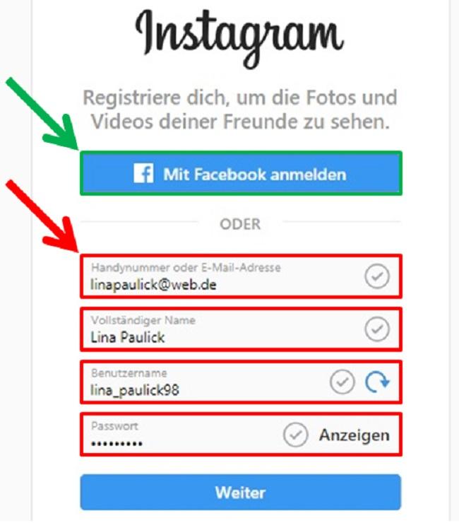 Instagram mit facebook anmelden welches passwort
